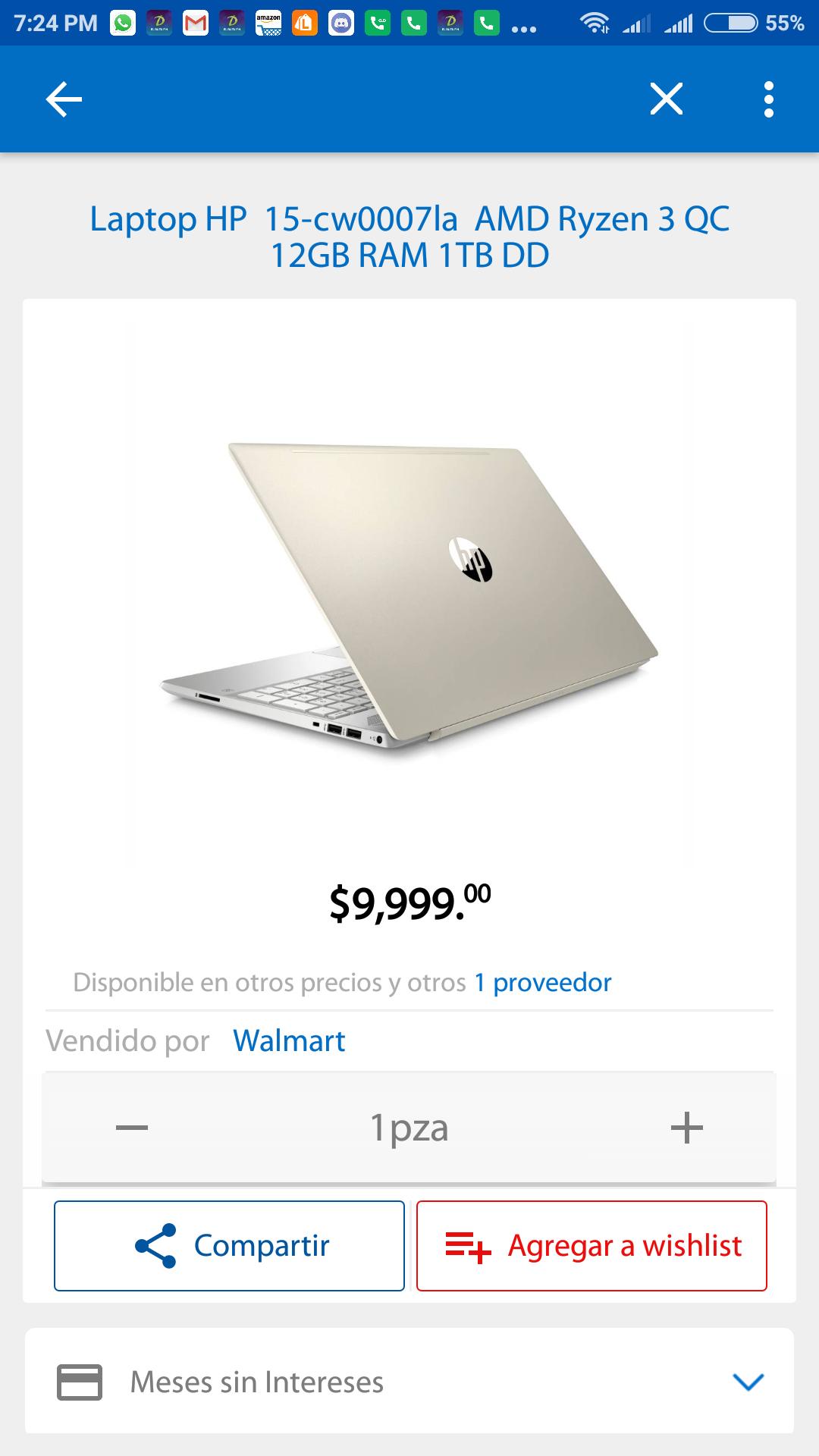 Buen Fin en Walmart: Laptop HP 15-cw0007la AMD Ryzen 3 QC 12GB RAM 1TB DD con Bancomer