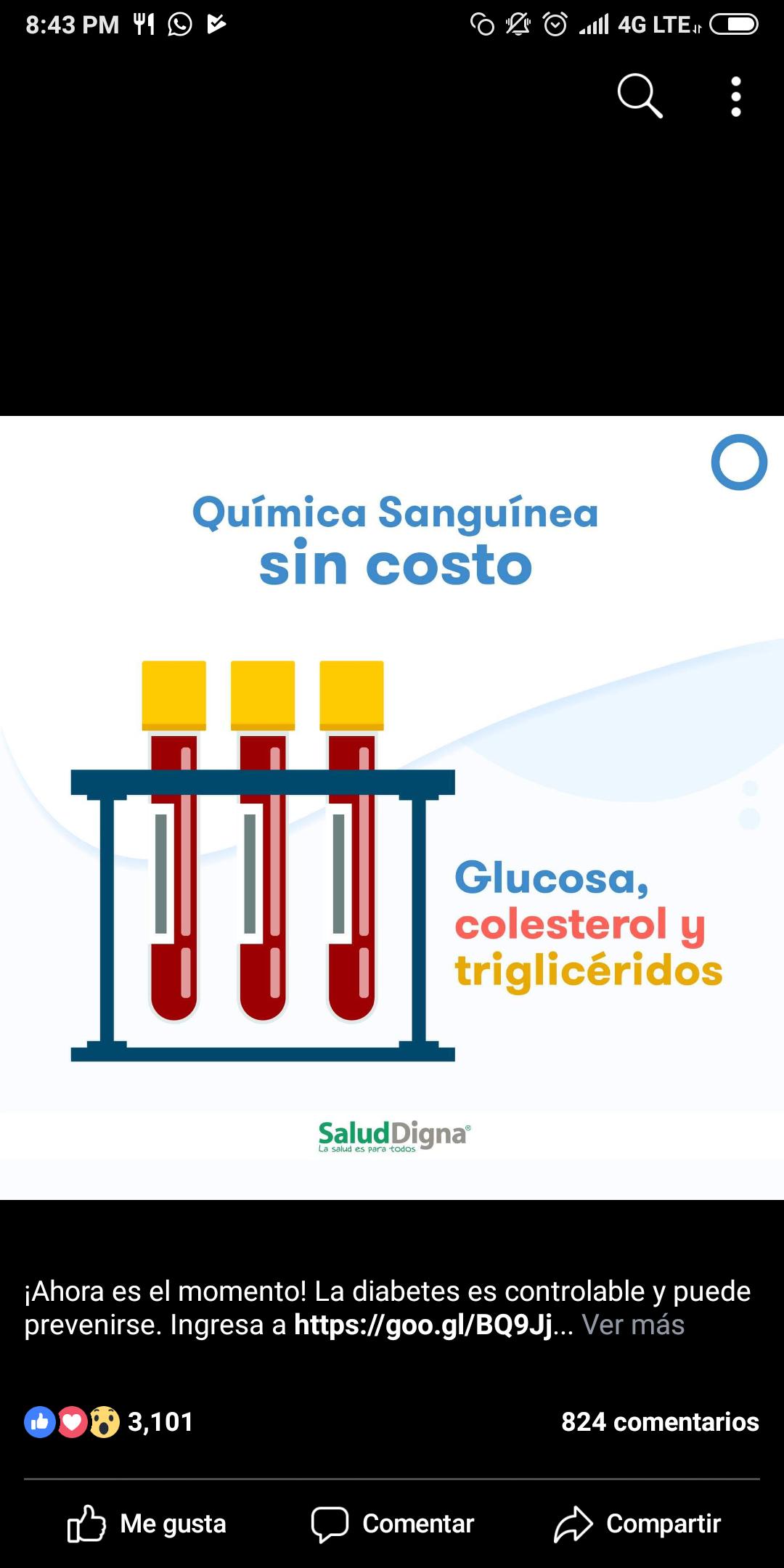 """Clínica Salud digna: Análisis médicos de glucosa/colesterol y triglicéridos  """"Gratis"""""""