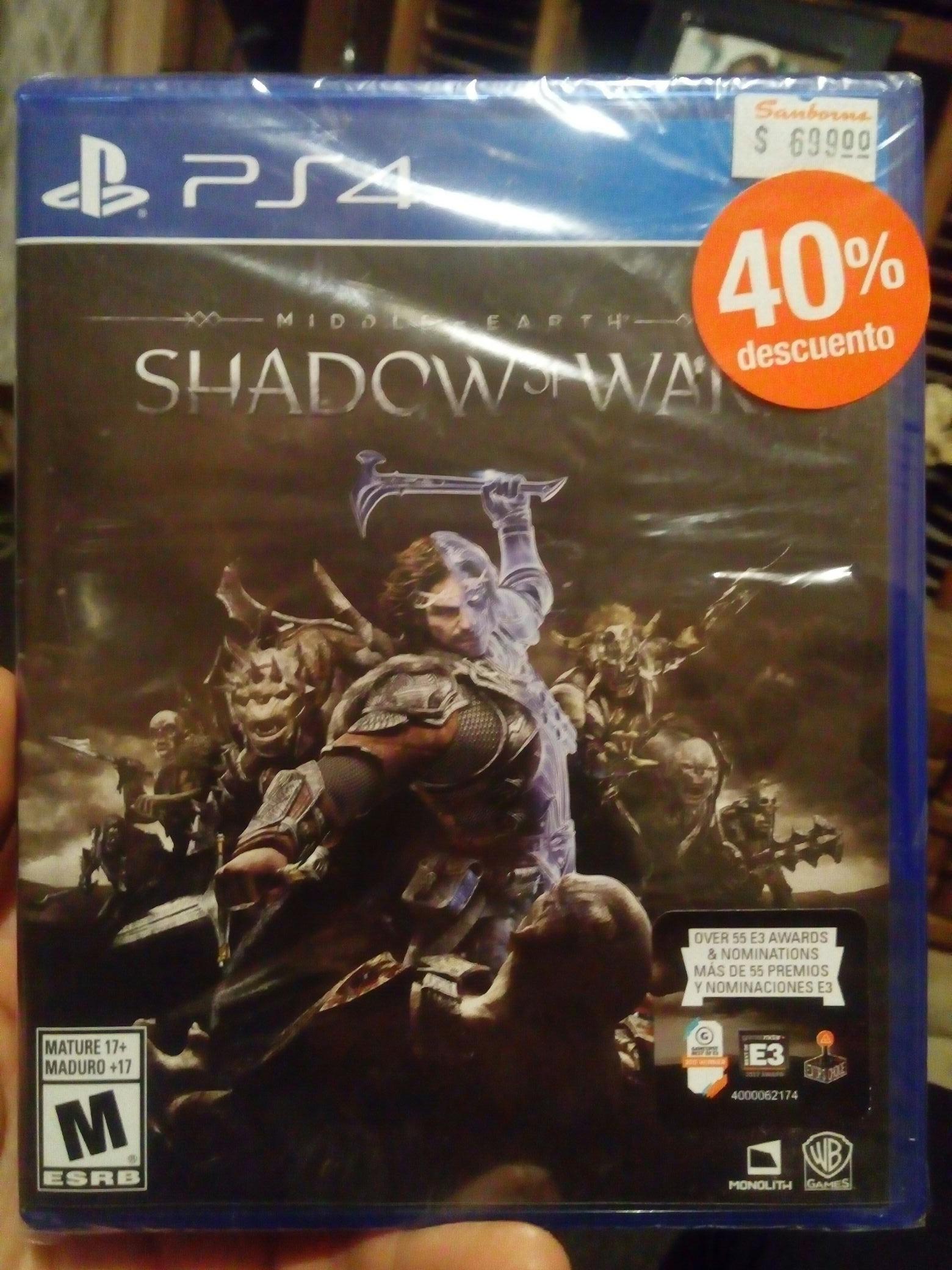 Sanborns: Shadow Of War ¡en $254.15! (PS4 / XOne)