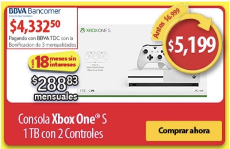 Buen Fin 2018 en Walmart: XBOX One S 1 TB + 2 Controles (Pagando con Bancomer)