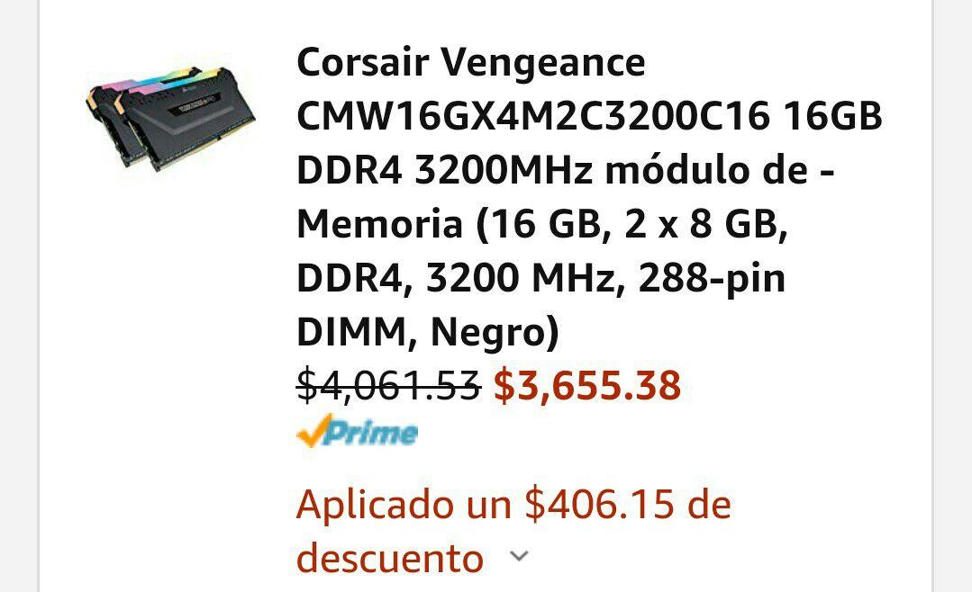 Amazon: CORSAIR VENGEANCE RGB PRO DDR4 16GB 3200MHZ