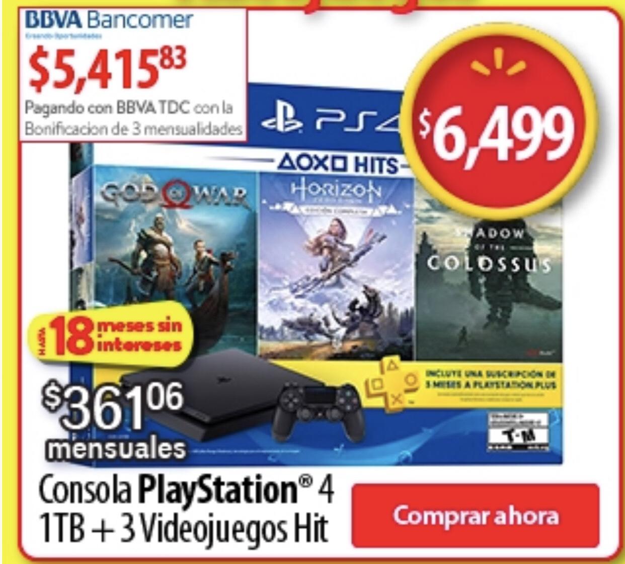 Buen Fin 2018 en Walmart: Consola Playstation 4 1TB + 3 Juegos (Pagando con Bancomer)