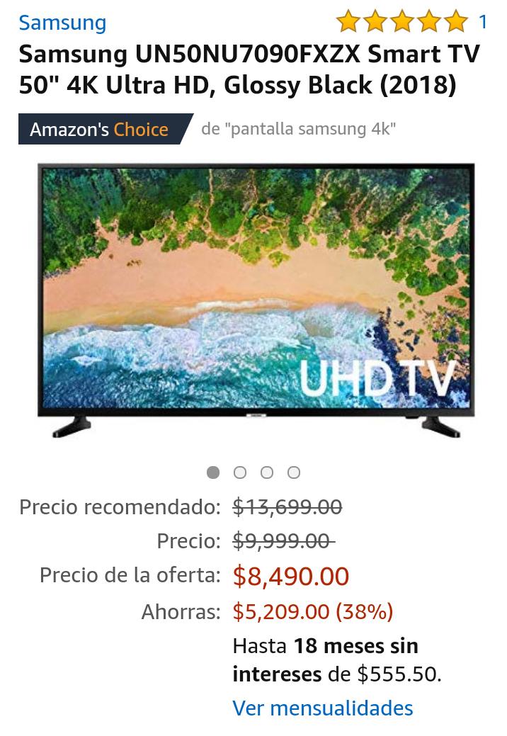 """Amazon: Samsung UN50NU7090FXZX Smart TV 50"""" 4K Ultra HD (Pagando con Citibanamex)"""