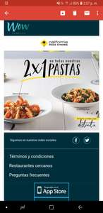 California Pizza Kitchen: 2x1 en Pastas presentando tarjeta Wow Rewards