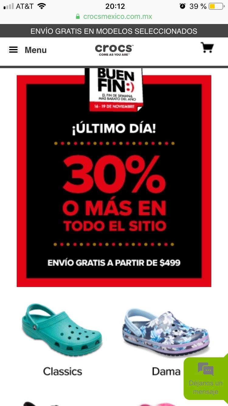 Buen Fin Crocs: 30% en crocs y envío gratis