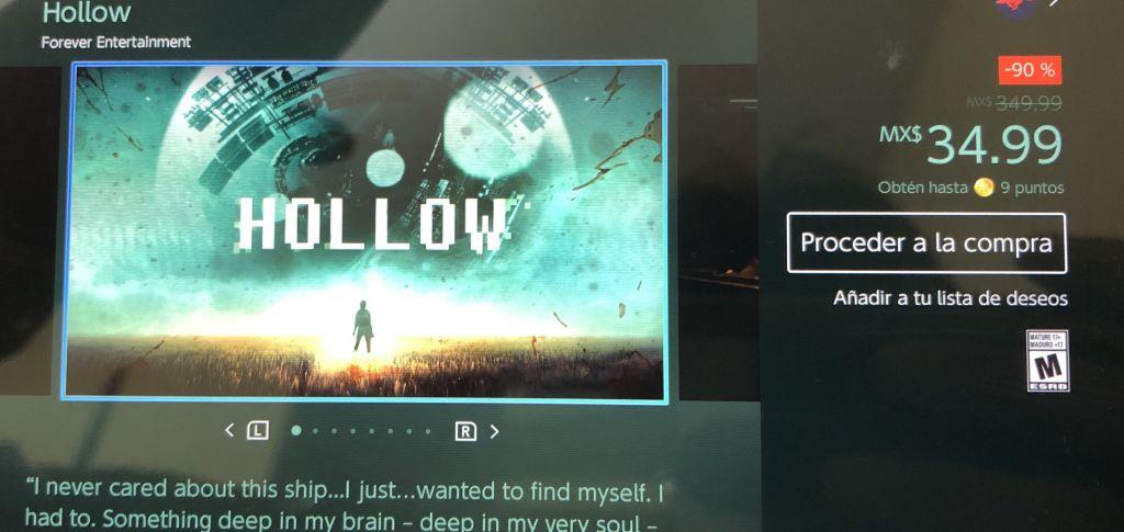 eShop: Hollow nintendo switch por 35 pesitos