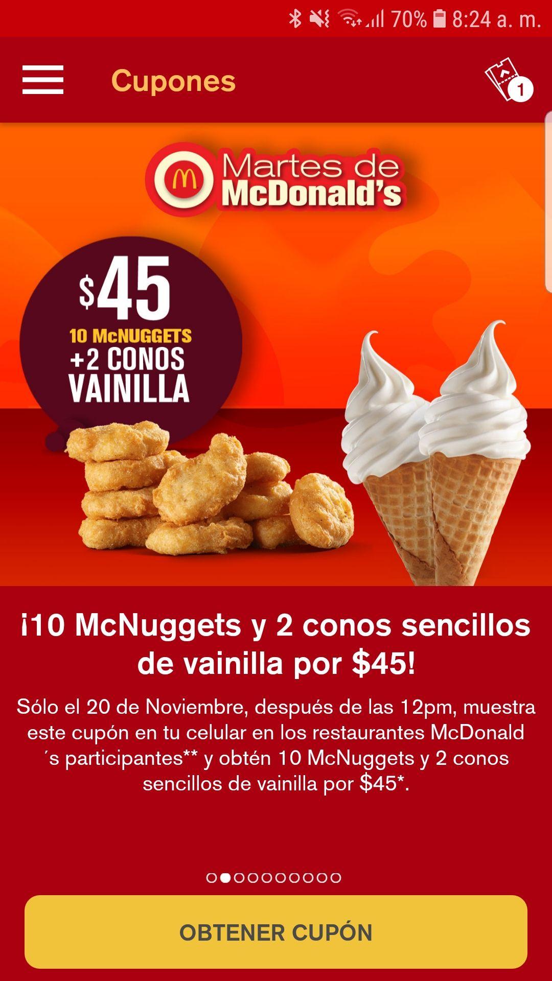 McDonald's: 10 nuggets y 2 conos
