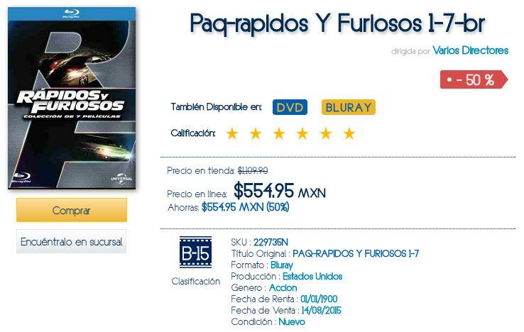 Blockbuster: Rápido y furioso - Heptalogía $555 blu-ray, $390 DVD