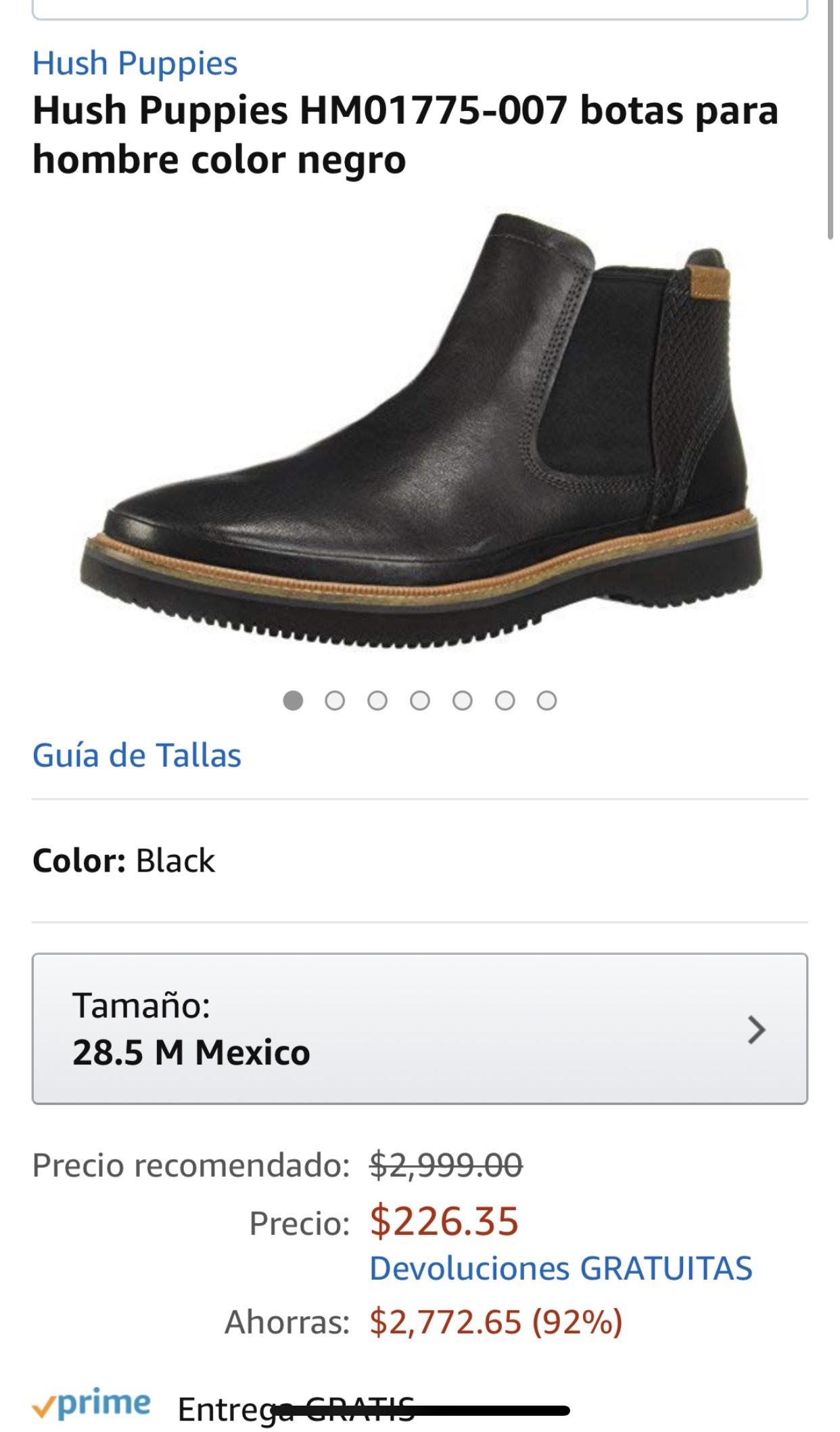 Amazon: Botas de piel hush puppies, mismo precio en varias tallas.
