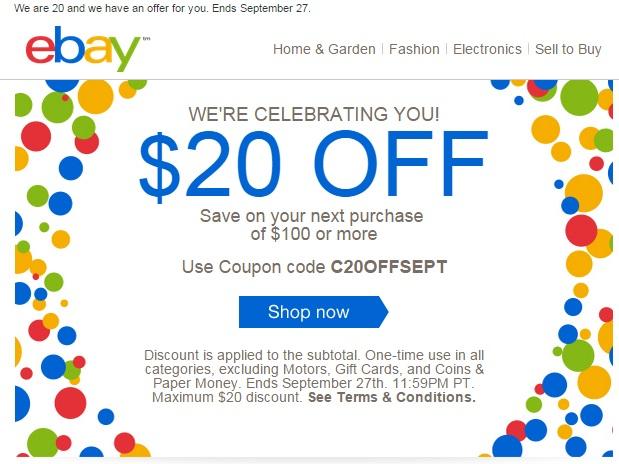 eBay cupon de 20 dolares de descuento al comprar un minimo de 100dlls.