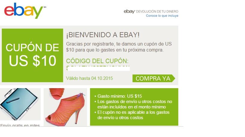 ebay: cupón de $10 para compras mínimas de $15 al crear cuenta