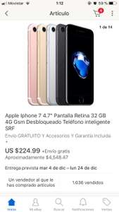 "Black Friday en eBay: IPHONE 7 4.7"" 32GB RECONSTRUIDO"