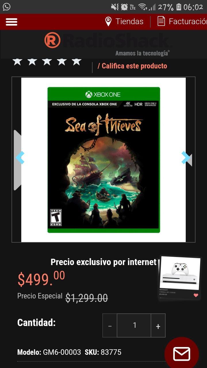 Radioshack: Sea of Thieves(xboxones)precio especial