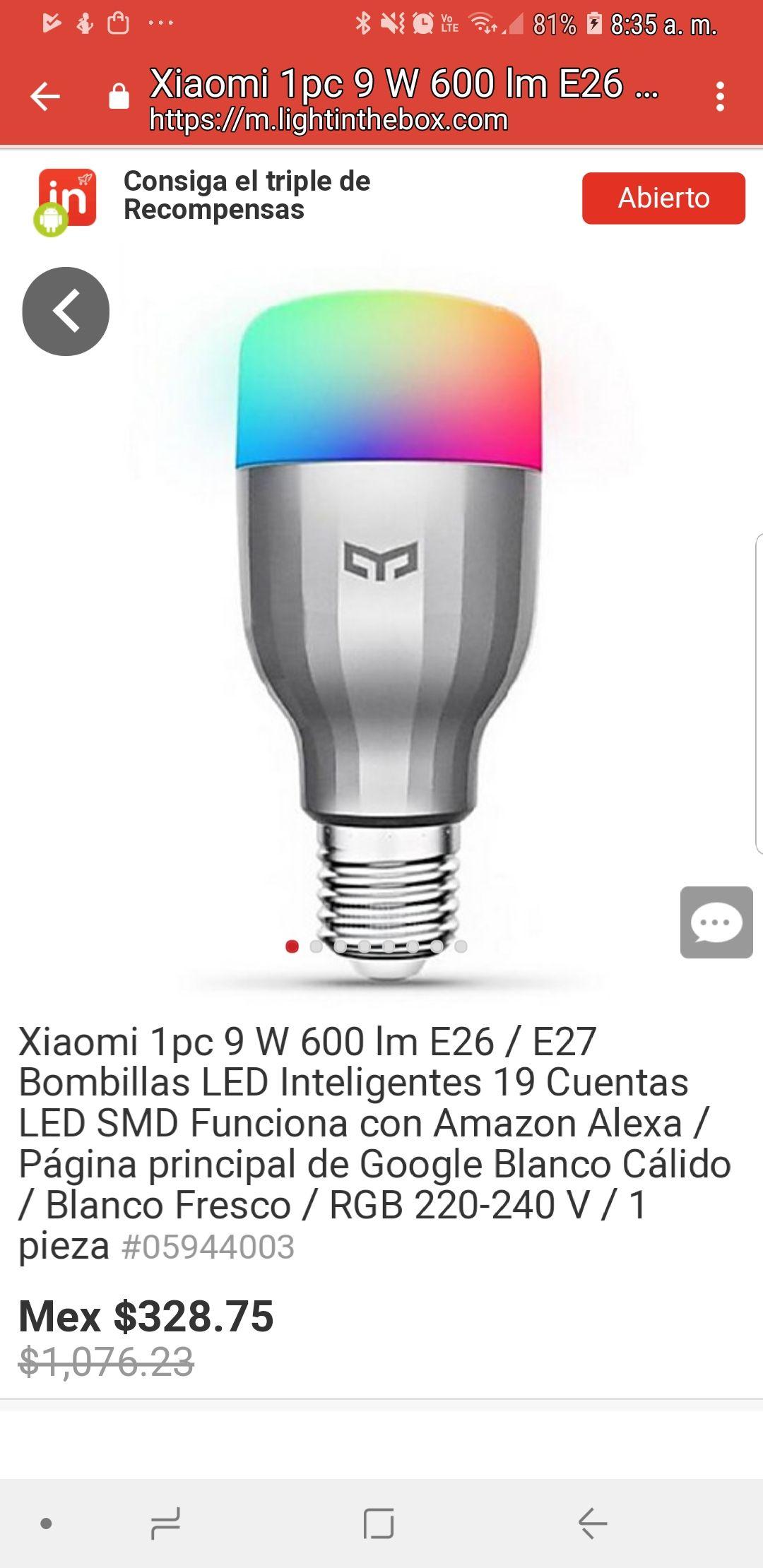 Lightinthebox:Foco Led Xiaomi de colores