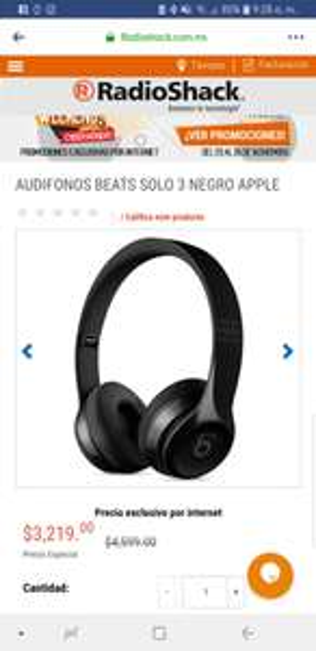 Radioshack: Beats solo 3 negro