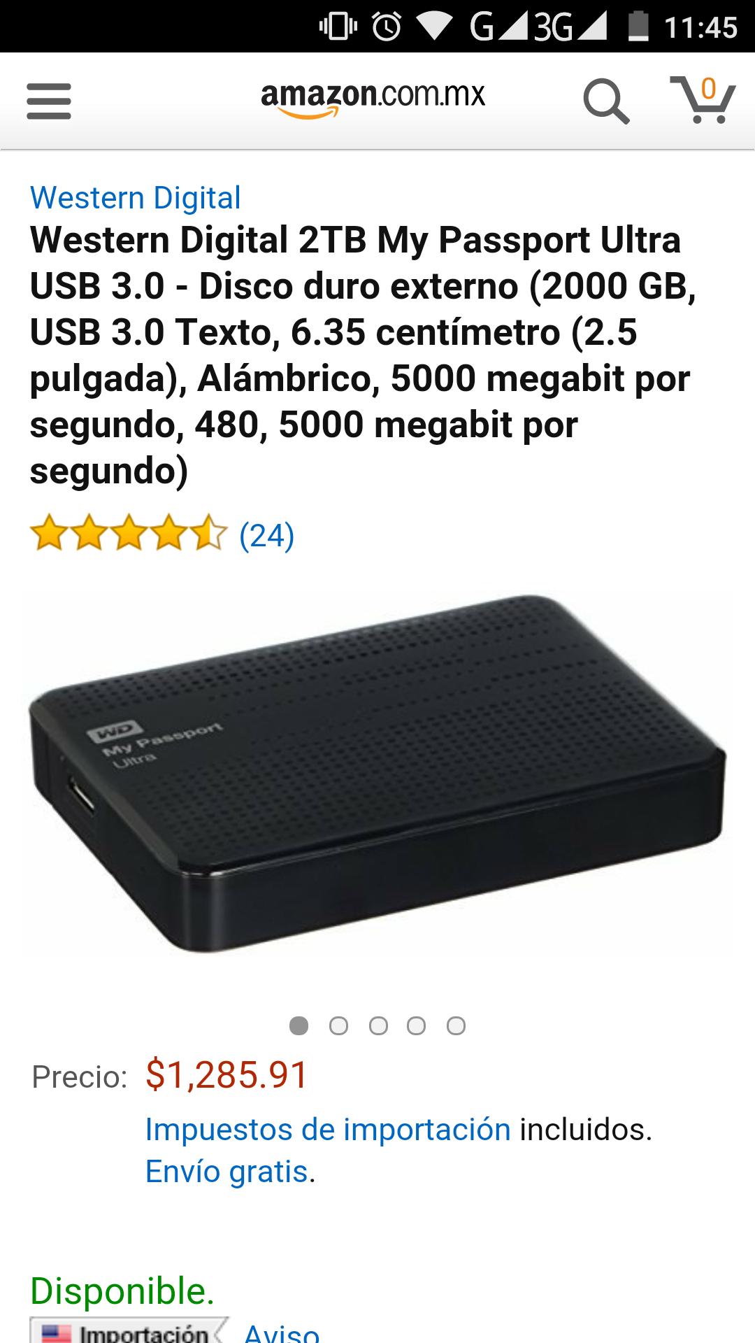 Amazon: disco duro western digital 2tb my passport ultra USB 3.0