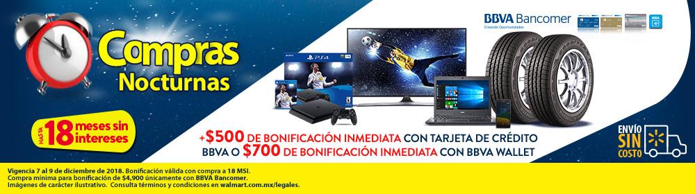 Walmart: Compras nocturnas con Bancomer 18MSI y $700 descuento directo con BBVA Wallet o 500 con TC