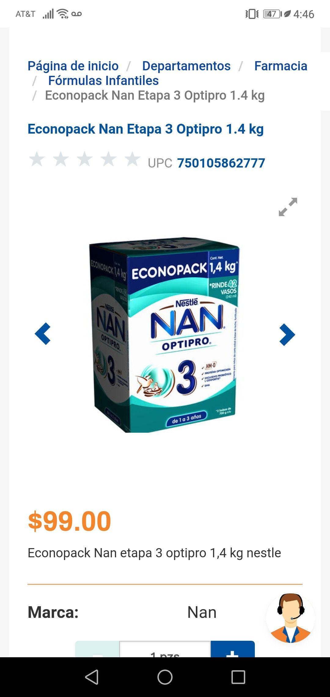 Chedraui: LECHE NAN 3 1.4 kg $99