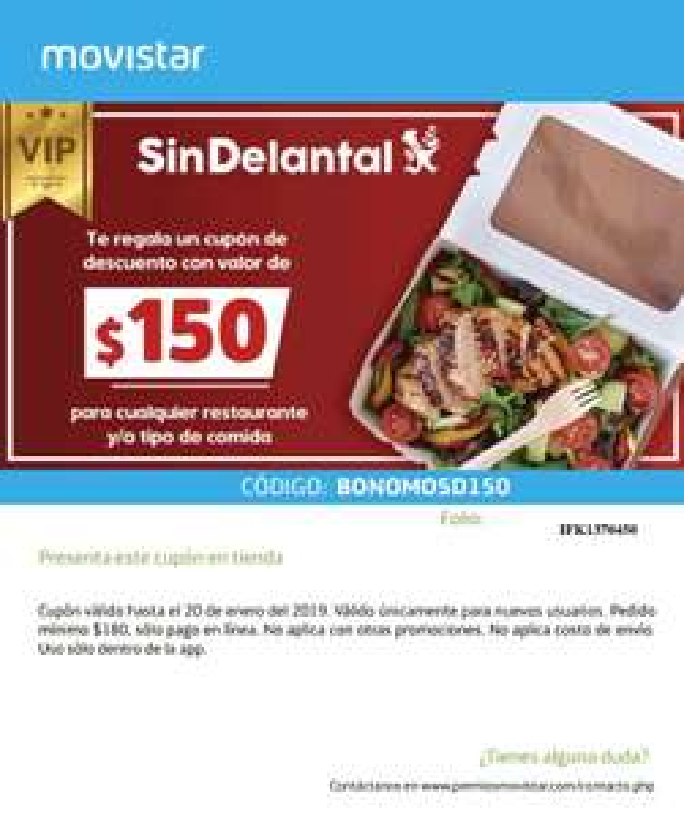 SinDelantal: Descuento de $150.00 en pedidos mayores a $180.00 (NUEVOS USUARIOS)