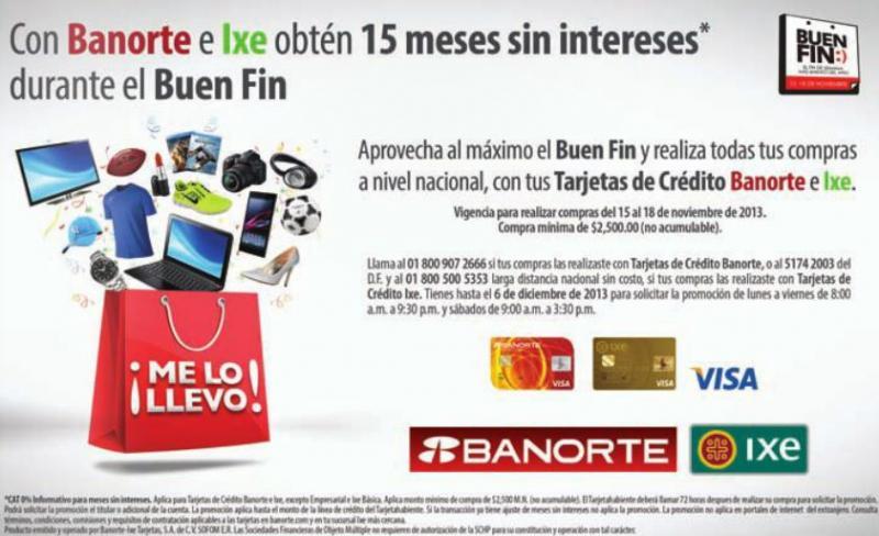 Ofertas del Buen Fin 2013 en tarjetas de crédito Banorte, IXE e Invex