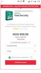 Black Friday en Kaspersky: Total Security 50% de descuento