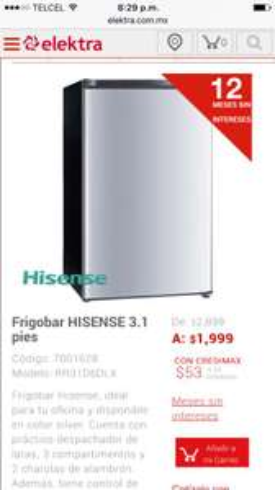Elektra: Frigobar HISENSE 3.1 pies a $1,799 con cupón + msi