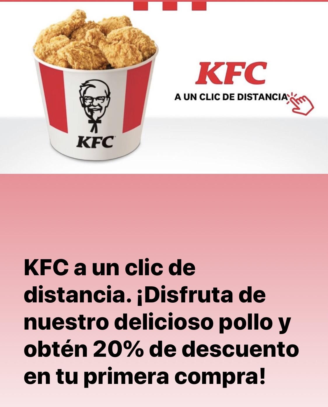 KFC: 20% de descuento en primera compra en línea.