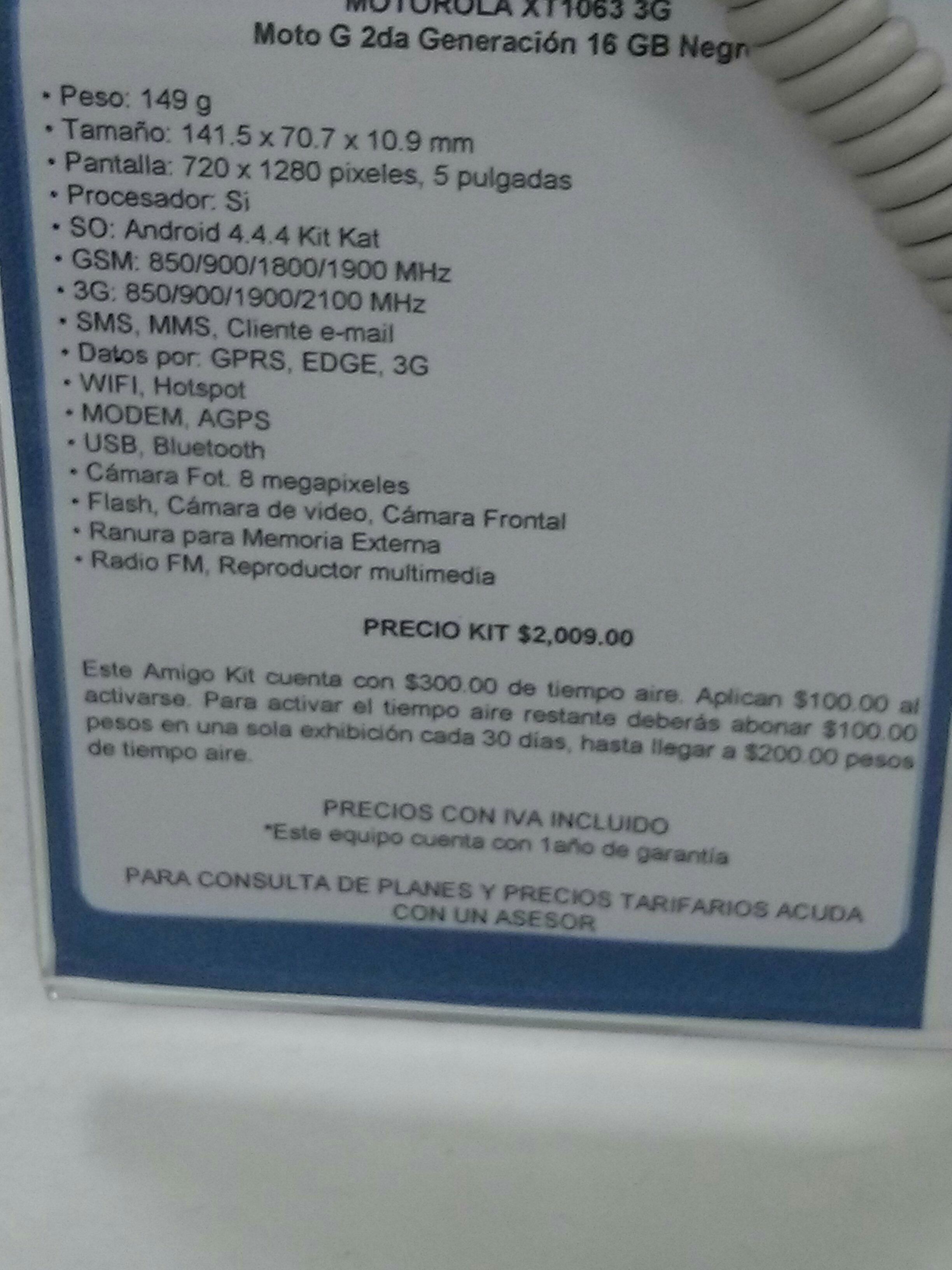 Telcel CAC, Moto G 2a generación