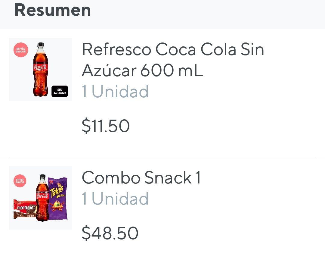 Combo snacks y coca cola cero por $10 en tiendita rappi