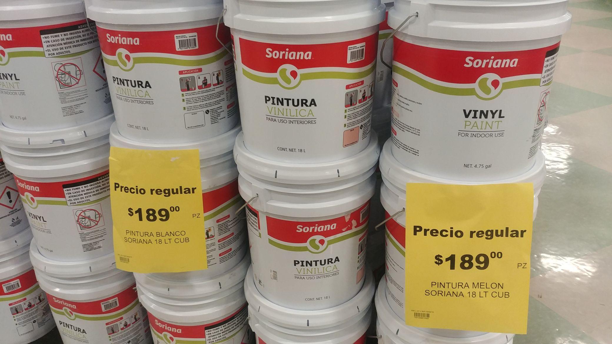Soriana: Cubeta pintura 18litros