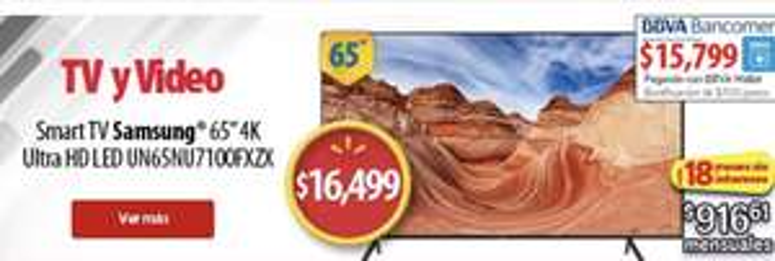Cyber Monday en Walmart: Pantalla Samsung 65 Pulgadas 4K Ultra HD HD Smart TV LED UN65NU7100FXZX