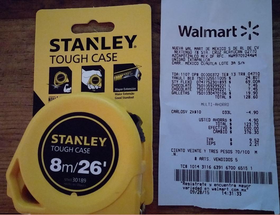 Walmart Flexometro 8m Stanley por $ 69