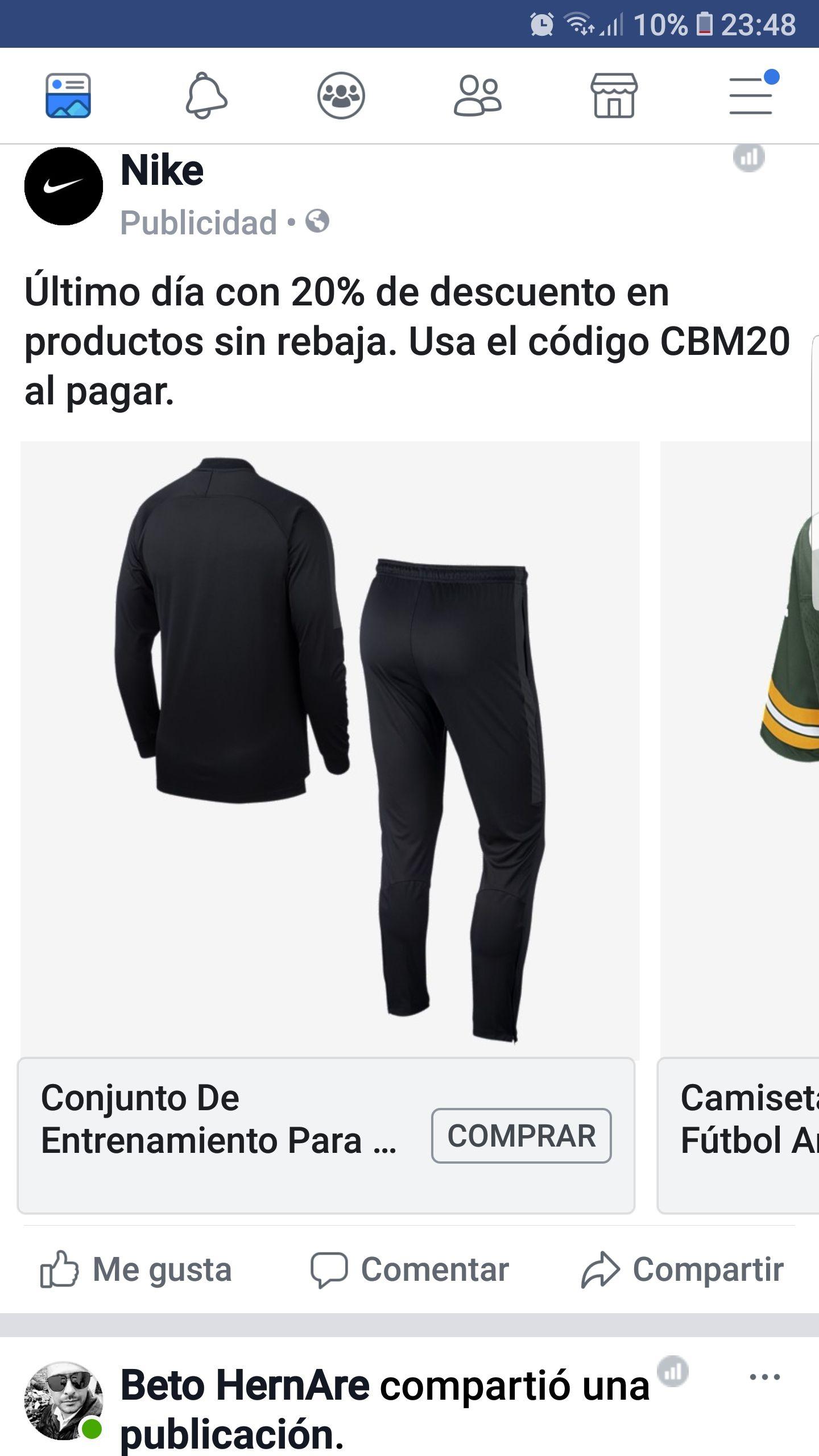 Nike: Cupón -20% (productos sin descuentos) tienda en linea