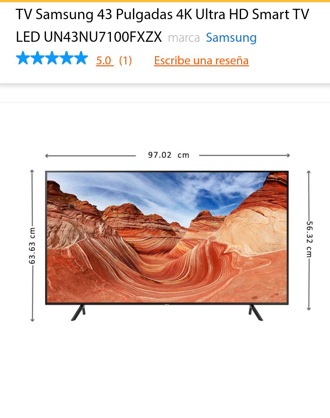Cyber Monday en Walmart: Pantalla Samsung 43'' 4K Ultra HD Smart TV LED UN43NU7100FXZX