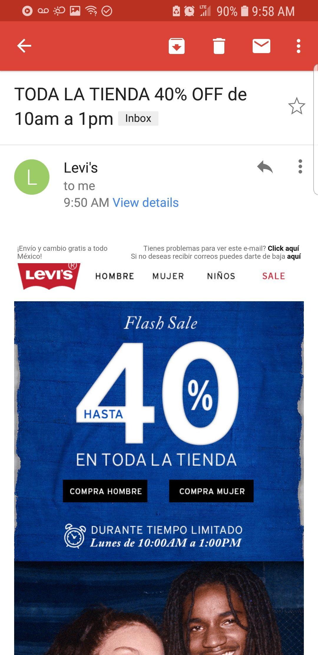 Cyber Monday en Levi's: 40% toda la tienda de 10am a 1pm