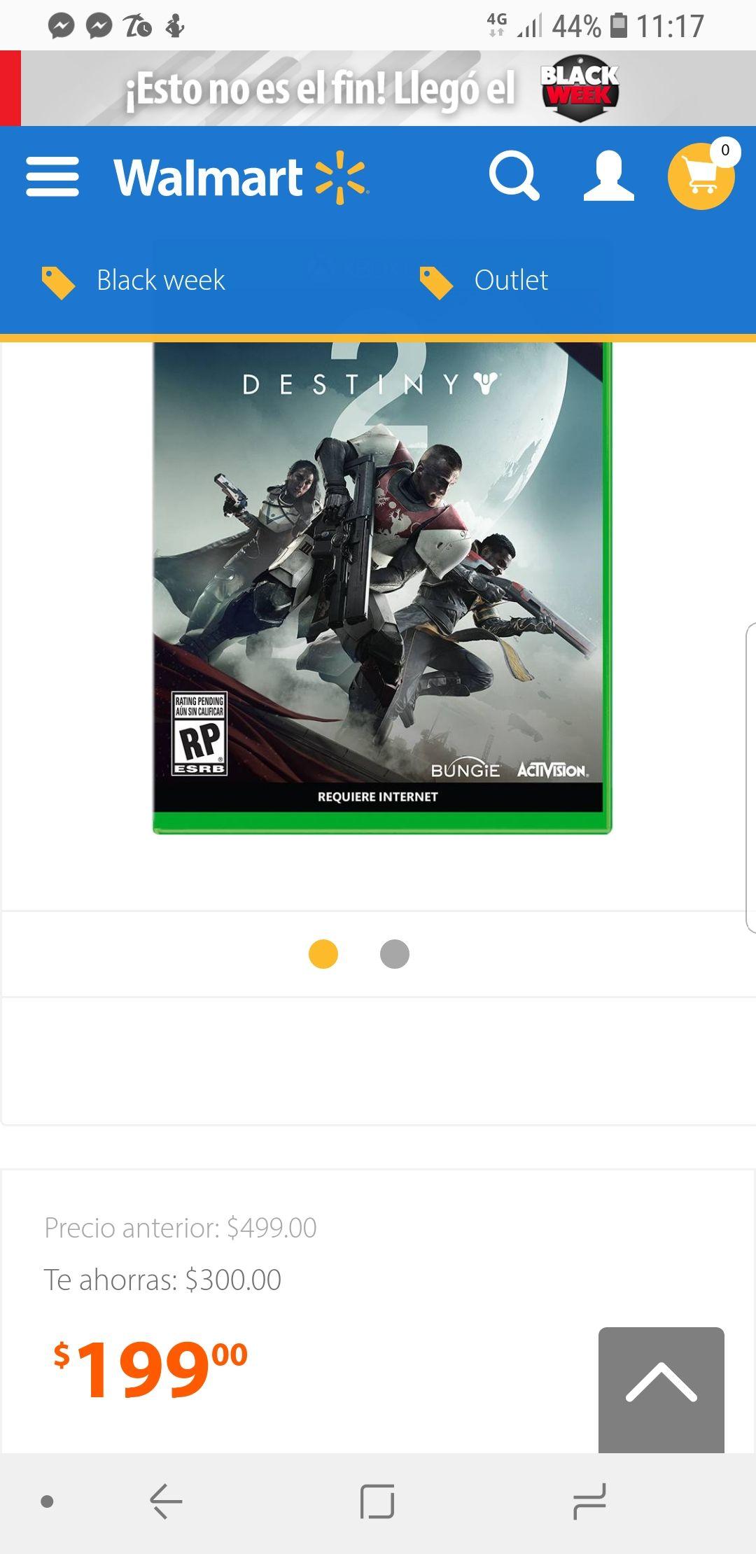 Cyber Monday en Walmart: Destiny 2 para Xbox One