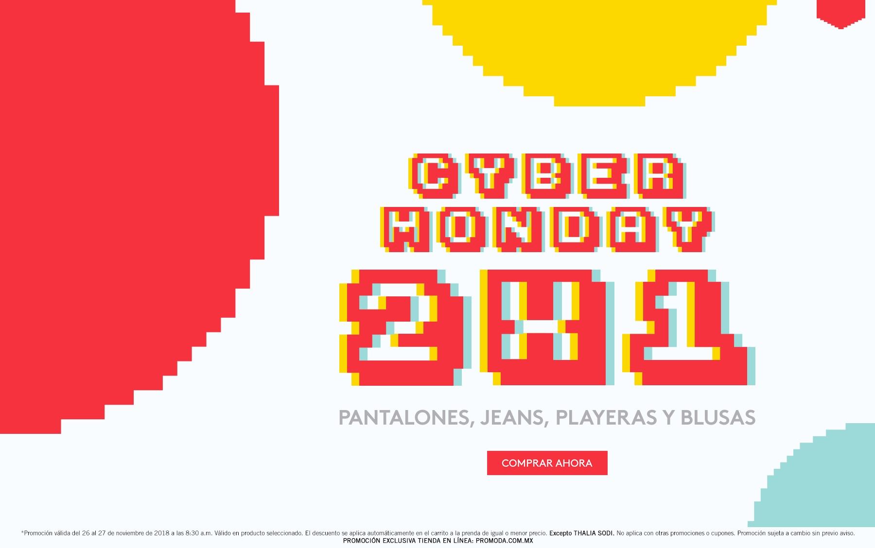 Promoda Outlet: 2 x 1 en pantalones, jeans, playeras y blusas... y descuentos escalonados del 25% al 45%