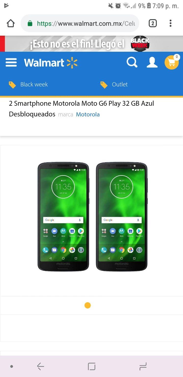 Black Friday en Walmart: 2 Smartphone Motorola Moto G6 Play 32 GB Azul Desbloqueados