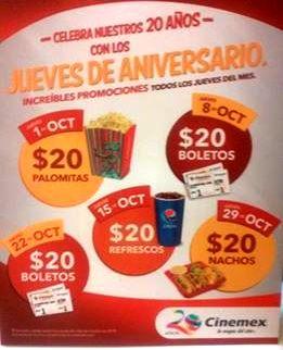 Cinemex Jueves de Aniversario: palomitas, nachos, refrescos y boletos a $20