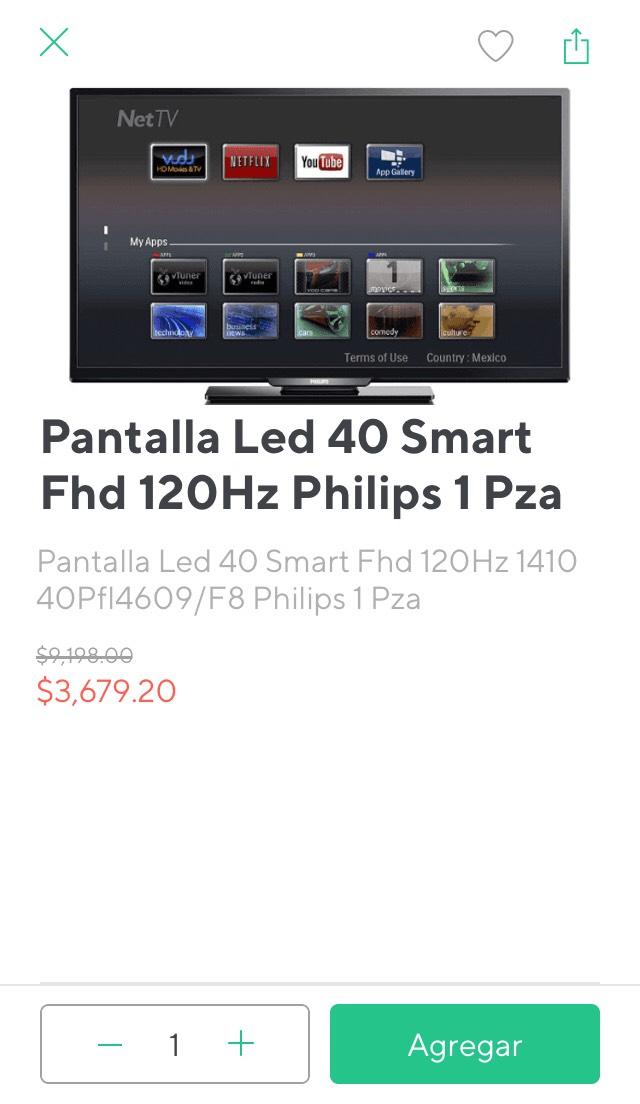 Rappi:  smart tv 40 pulgadas FHD 120Hz a $3679