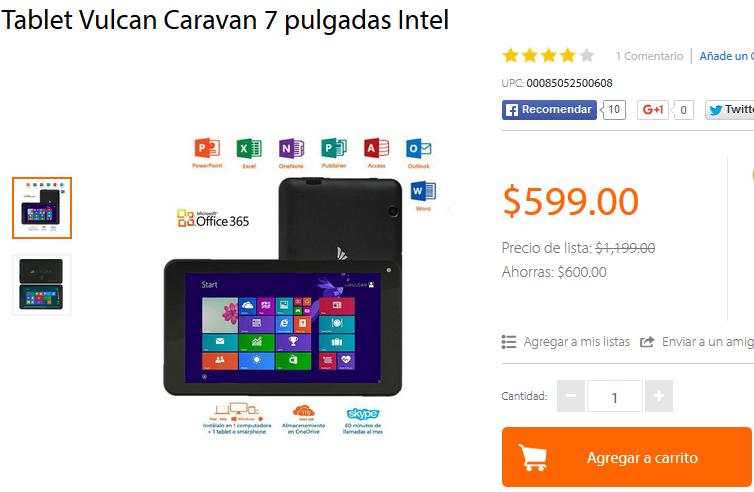 Walmart Online - Tablet Vulcan Caravan 7 pulgadas Intel + ENVIO GRATIS
