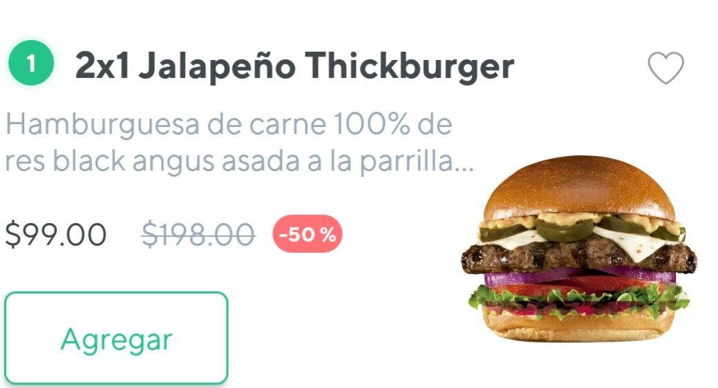 Rappi: Jalapeño Thickburger 2*1