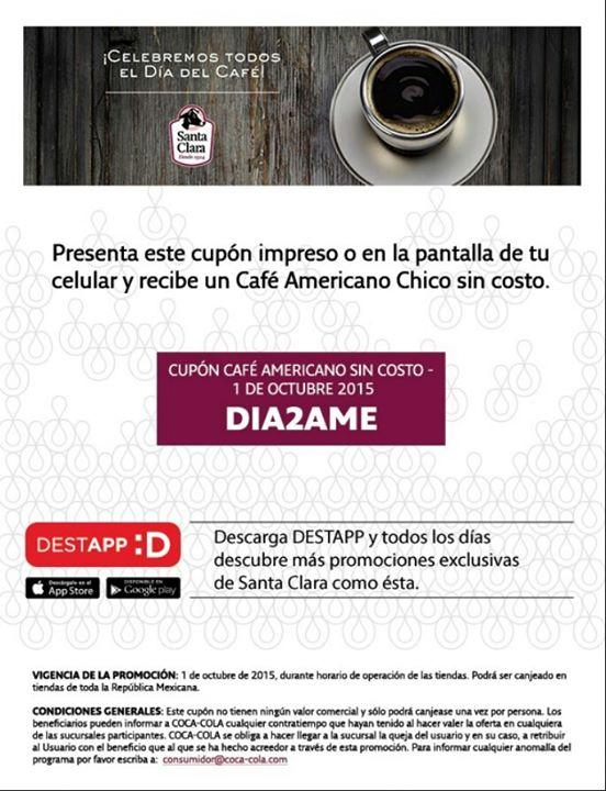 Santa Clara: cupón café americano gratis hoy