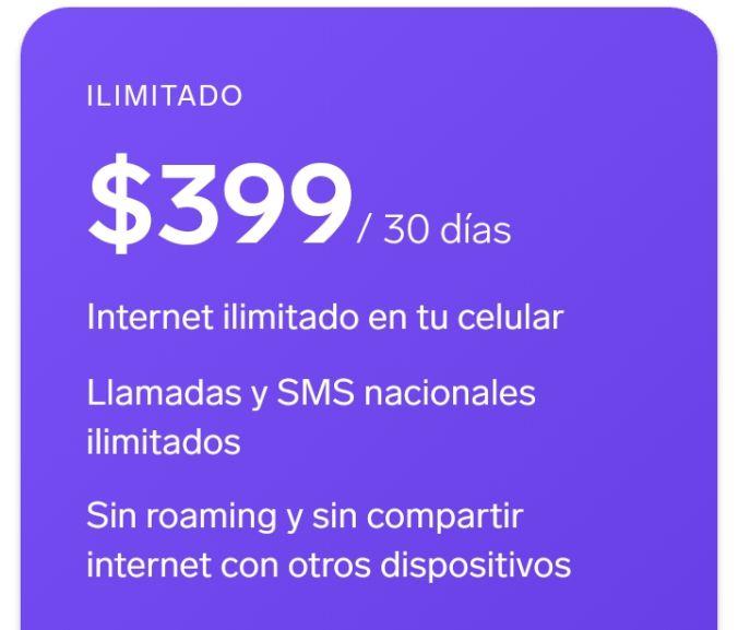 Simplii internet ilimitado (usa la red movistar y telcel)