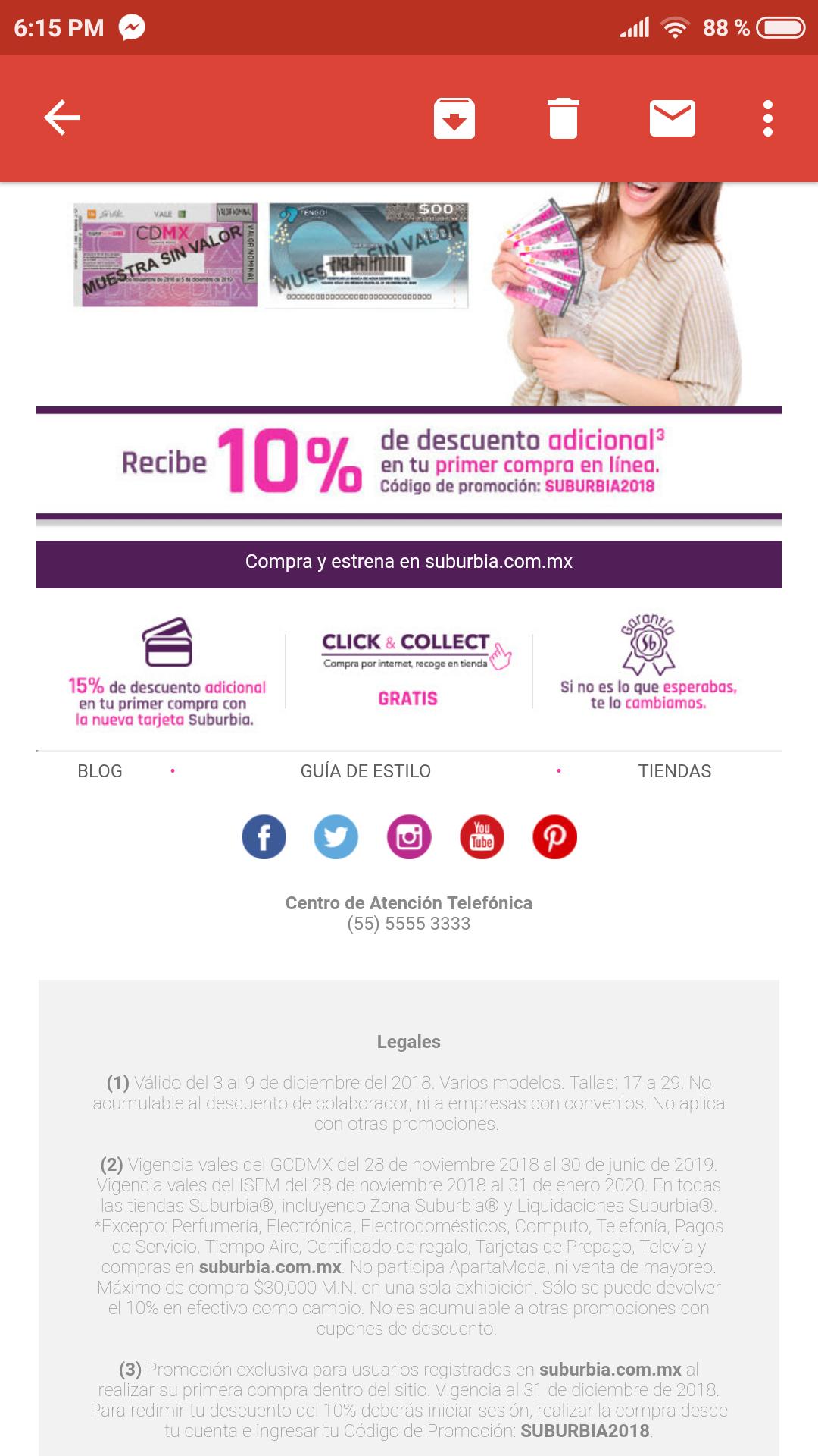 Suburbia, 10% de descuentos en tu primera compra en línea