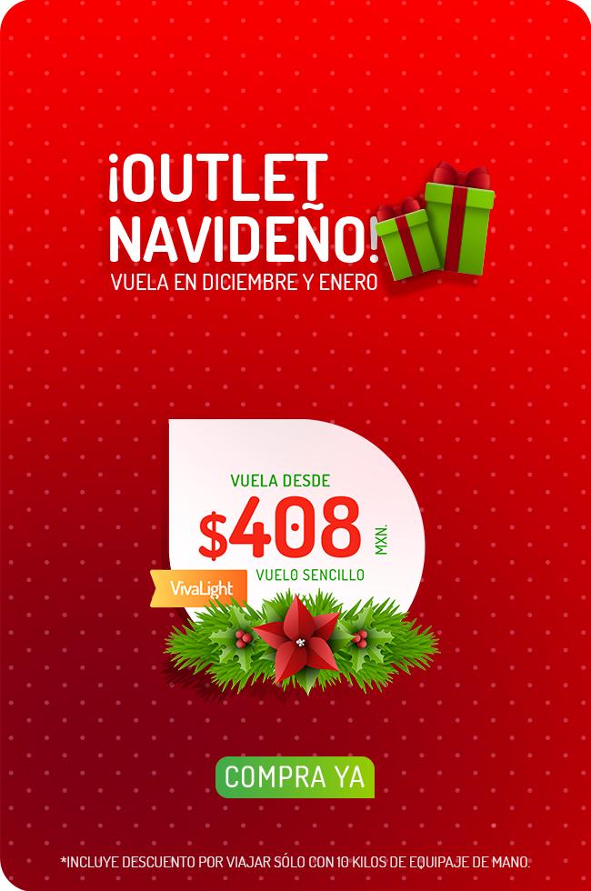 Vivaaerobus: Outlet Navideño: Vuela en Diciembre y Enero desde $408