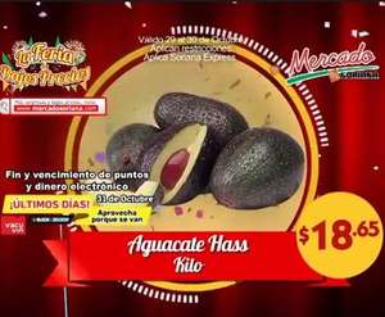 Ofertas de frutas y verduras Soriana 29 y 30 de octubre: aguacate $18.65 el kilo y más
