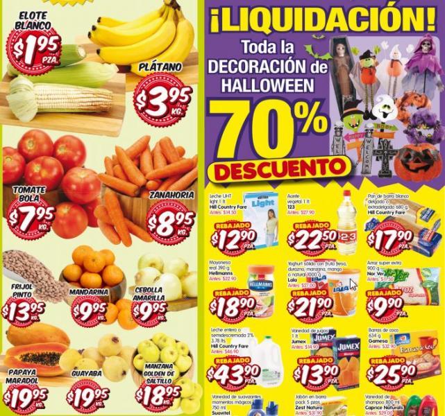 HEB: plátano $3.95 el kilo, 70% en toda la decoración de Halloween y más