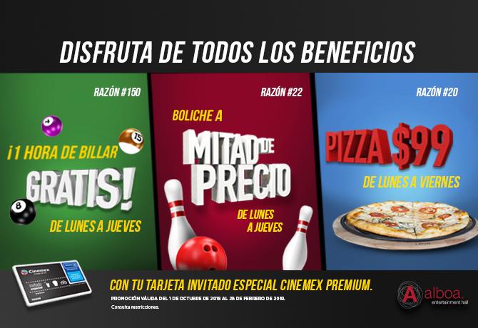 Promociones Cinemex: con tarjeta Invitado Especial PREMIUM 1 hora de billar gratis, Boliche a mitad de precio y pizza a precio especial