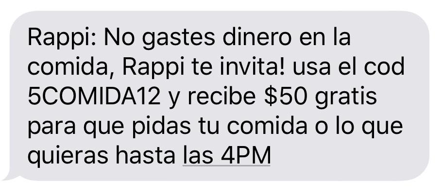 50 pesos de descuento en Rappi